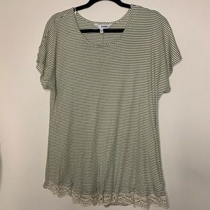 2/$18🔥Sonoma green striped ribbed top !